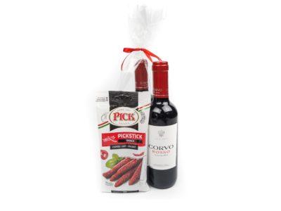 Dárkový balíček Červené víno s klobáskami