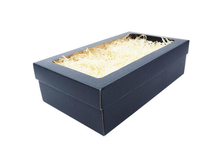 Modrá krabice na 2 vína s fóliovým oknem a dřevitou vlnou.