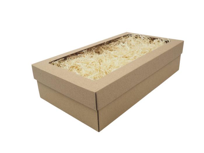 Dárková krabice na 2 vína s fóliovým oknem a dřevitou vlnou.