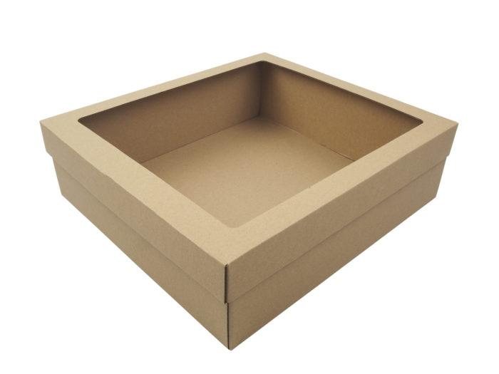 Dárková krabice na 3 vína přírodní hnědá s fóliovým oknem