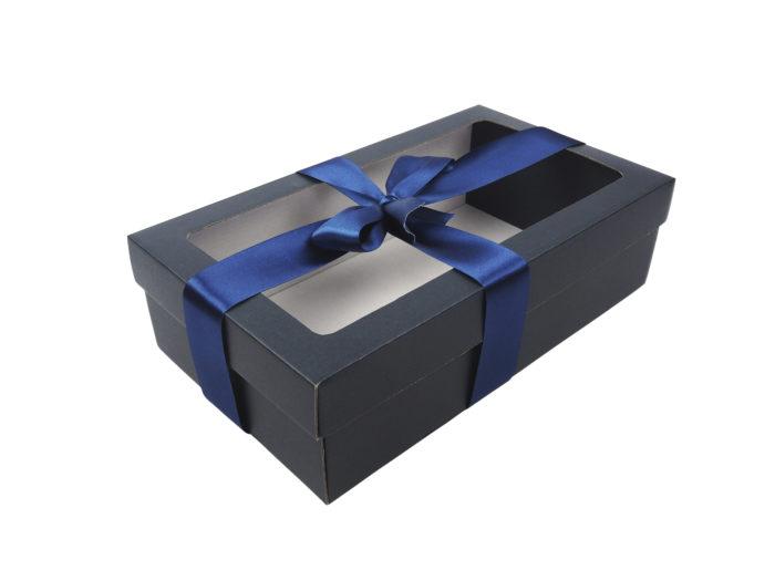 Modrá krabice na 2 vína s fóliovým oknem.