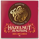 Willie's Cacao Čokoláda Willie's Peruvian hořká s lískovými oříšky a rozinkami 70 %, 50g